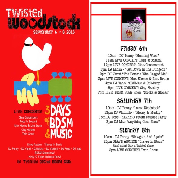 Twisted Woodstock 6-8 September 2103 (Schedule)