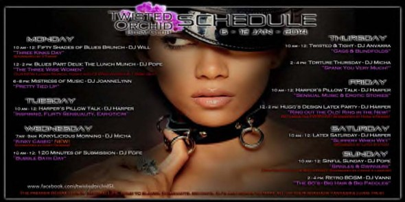 Twisted Orchid BDSM Club Events 6 - 12 Jan 2014